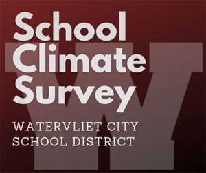 image School Climate Survey on garnet background with gray lettering and W logo