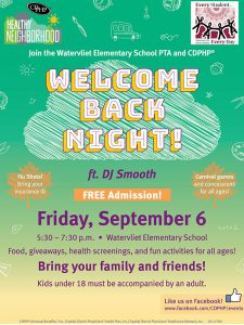 image: downloadable flyer with information about Welcome Back Night on Friday, September 6