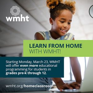 WMHT Learn from Home promotional image featuring elementary age female student smiling and typing on laptop keyboard