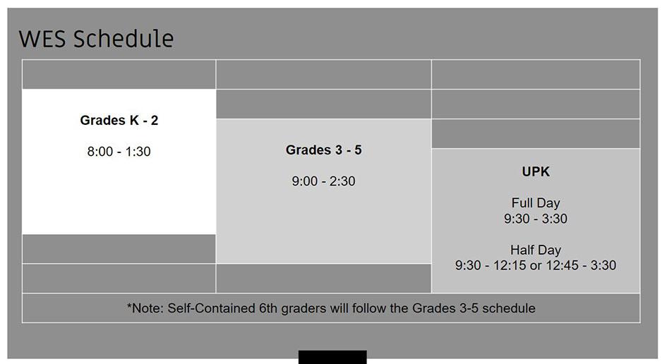 picture of Watervliet Elementary School schedule for 2020-21 school year