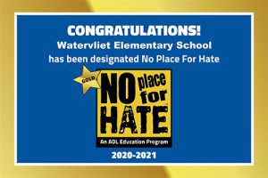 image of No Place for Hate Blue and Gold Banner designating Watervliet Elementary School a Gold Star School